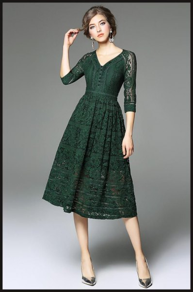dark green three quarter sleeve lace dress