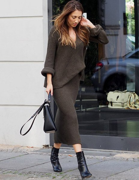 dark grey faux two piece long sleeve maxi knitted dress