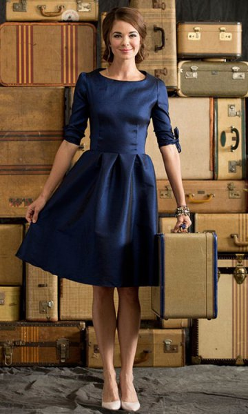 deep blue half sleeve skater knee length party dress