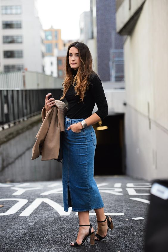 denim midi skirt business look