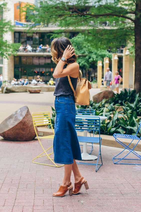 denim midi skirt rucksack