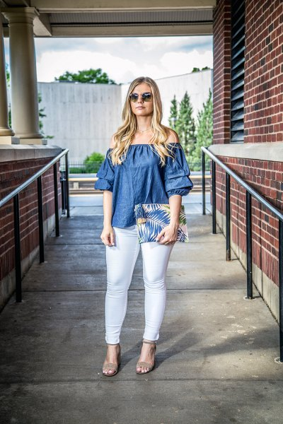 denim off the shoulder top with colorful clutch bag