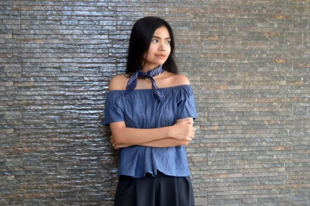 denim off the shoulder top with silk choker scarf