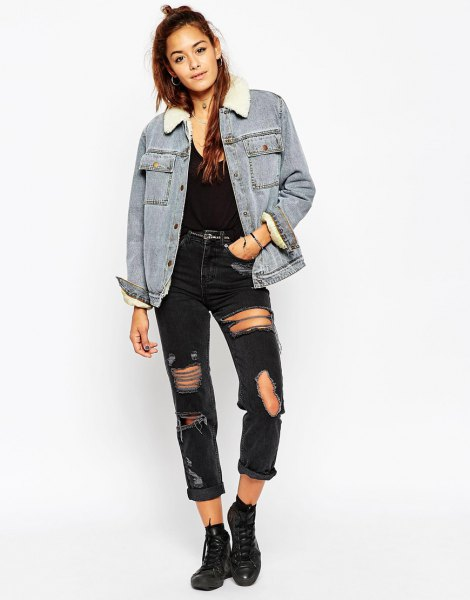 denim sherpa lined jacket with black ripped jeans