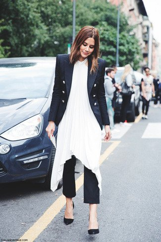 double breasted blazer with white high low silk dress and black pants