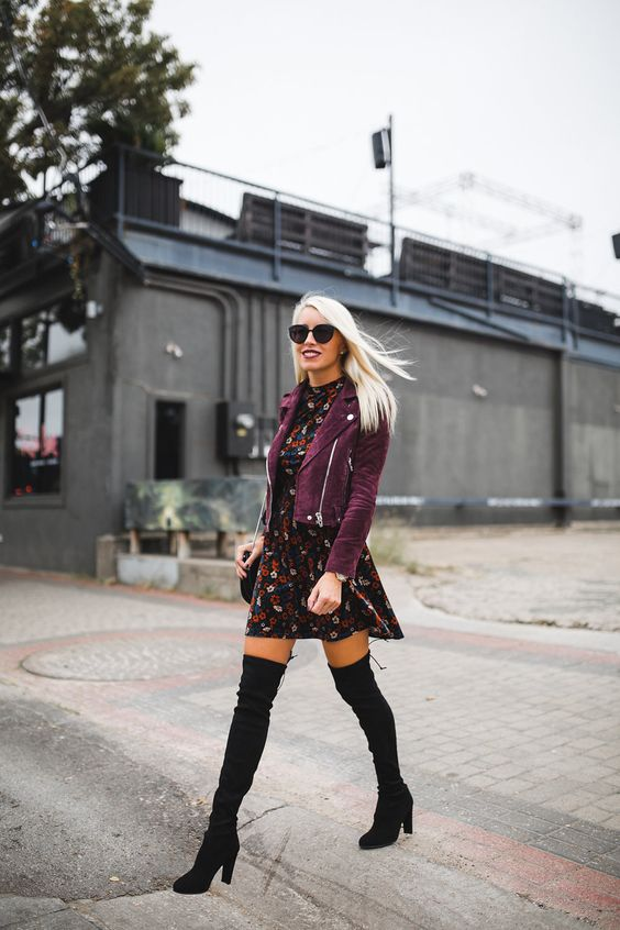 suede moto jacket floral dress