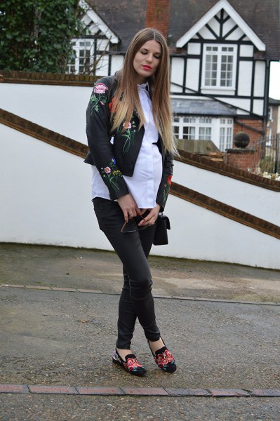 embroidered leather jacket white shirt black skinny jeans