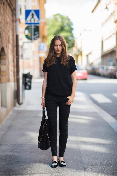 embroidered loafers all black outfit
