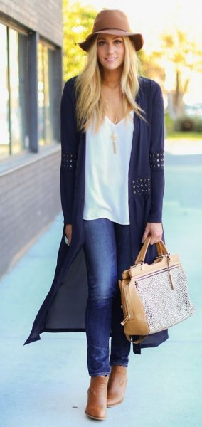 floppy hat with white v neck vest top black crochet long cardigan