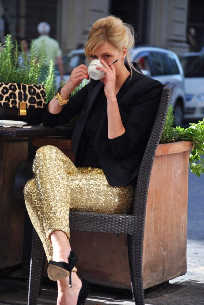 gold sequin leggings with black blazer