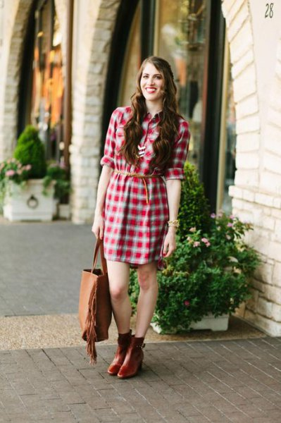 green and white plaid belted shirt dress