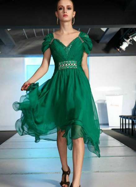 green cap sleeve chiffon midi flared dress