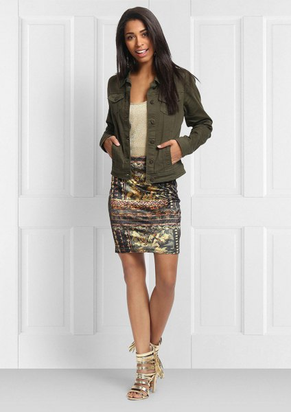 green denim jacket with gold printed bodycon mini skirt
