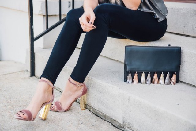 grey and gold velvet heels with silver silk top