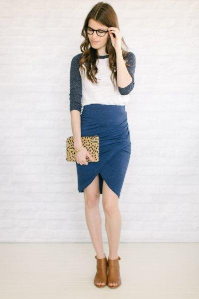 grey and white baseball half sleeve t shirt with blue tulip skirt