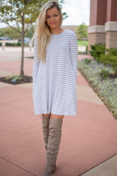grey and white striped long sleeve swing dress