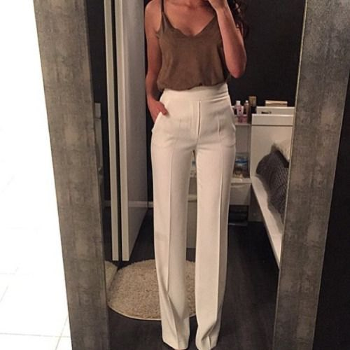 grey camisole with white high waisted wide leg trousers