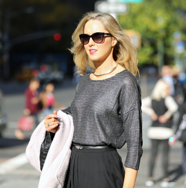 grey crew neck sweatshirt with pleated midi skirt silver choker