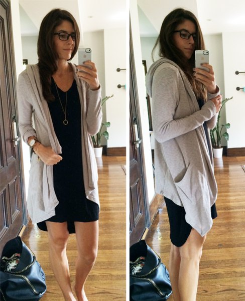 grey long hooded cardigan with black shift mini dress