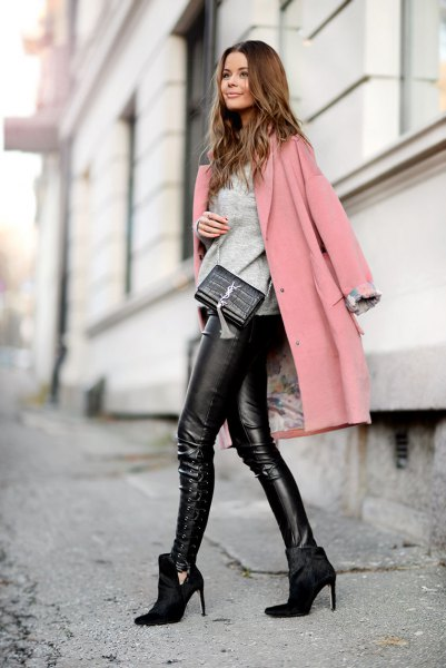 grey long wool coat black leather pants