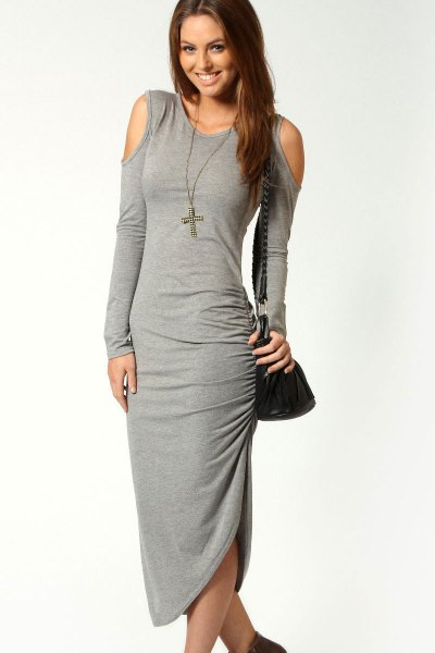 grey maxi bodycon open shoulder dress with boots