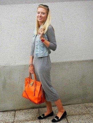 grey midi cotton shirt dress with light blue denim vest