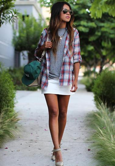 grey plaid boyfriend shirt with white mini skirt