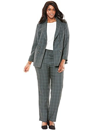 grey plaid double breasted suit with white top