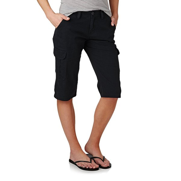 grey t shirt black knee length cargo shorts