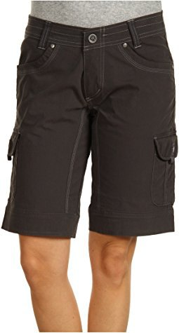 grey t shirt black long cargo shorts