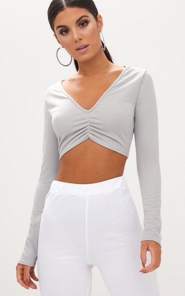 grey v neck long sleeve crop top white elastic waist cotton pants