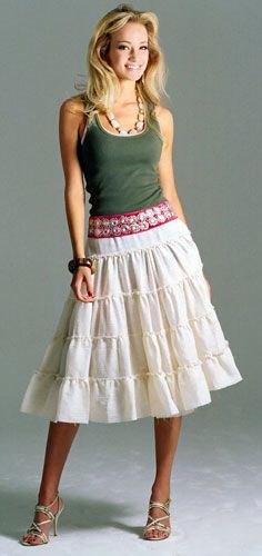 grey vest top white midi peasant skirt