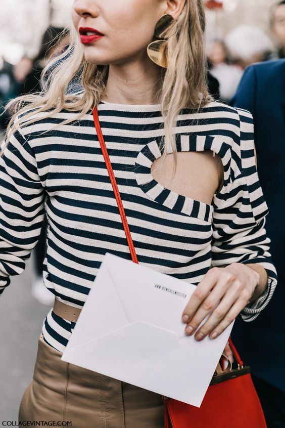 keyhole shirt striped