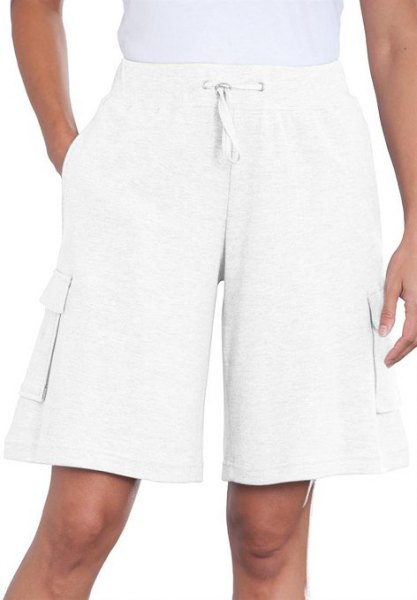 knee length flared white cargo shorts