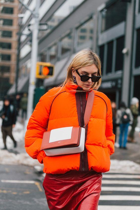 leather shoulder bag orange red