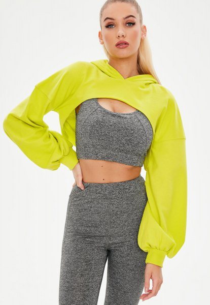 lemon yellow hoodie grey two piece running set