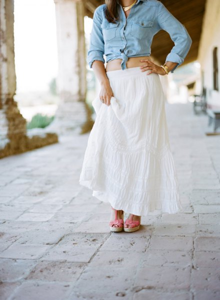 light blue chambray knotted shirt white maxi flared skirt