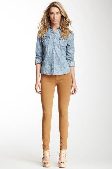 light blue chambray shirt orange skinny twill pants