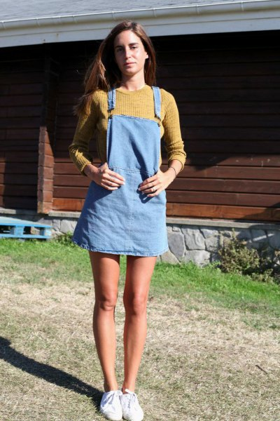 light blue denim pinafore dress with lime green ribbed sweater