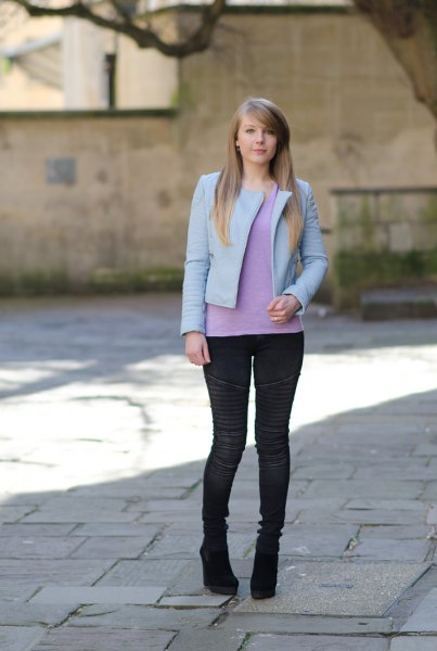 light blue leather jacket with matching knit sweater