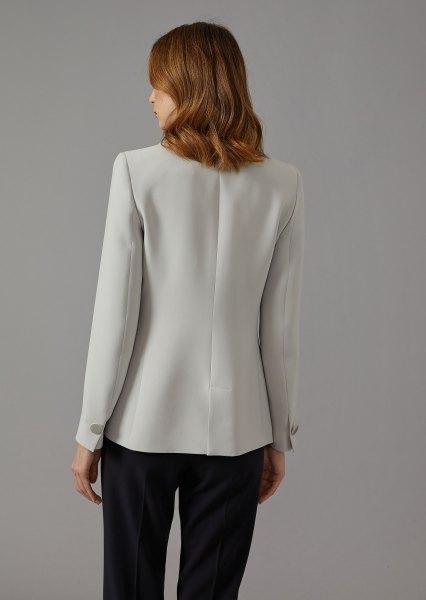 light grey silk blazer with black chinos