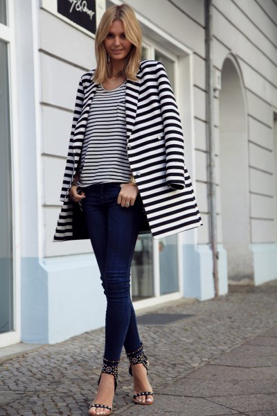long blazer black and white striped tee skinny jeans
