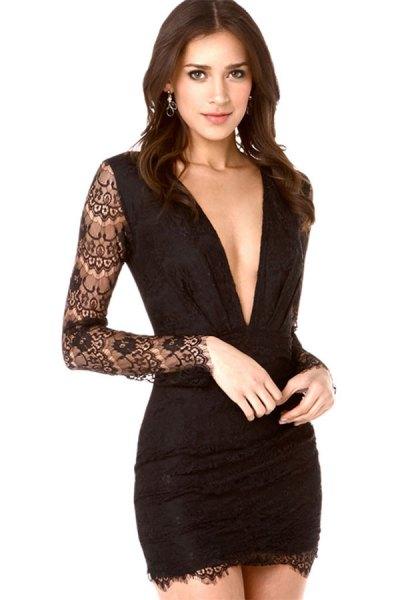 long sleeve black lace sleeve bodycon mini dress