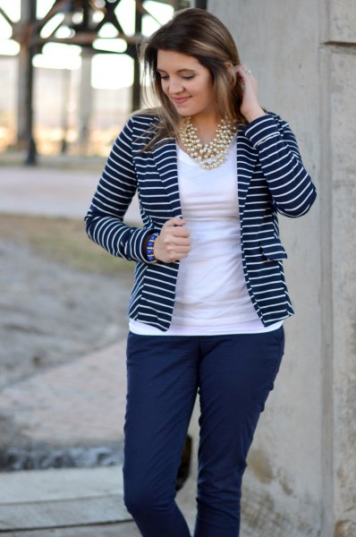 navy and white striped blazer white tee blue pants