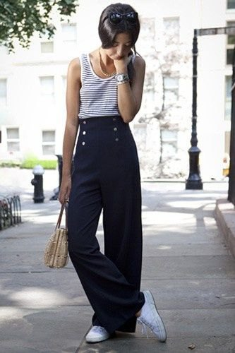 navy and white striped vest top