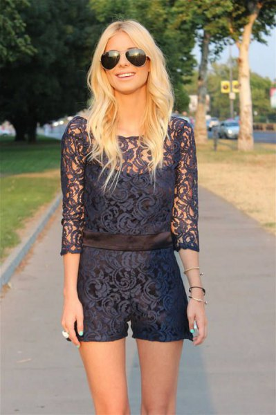 navy two layered lace romper