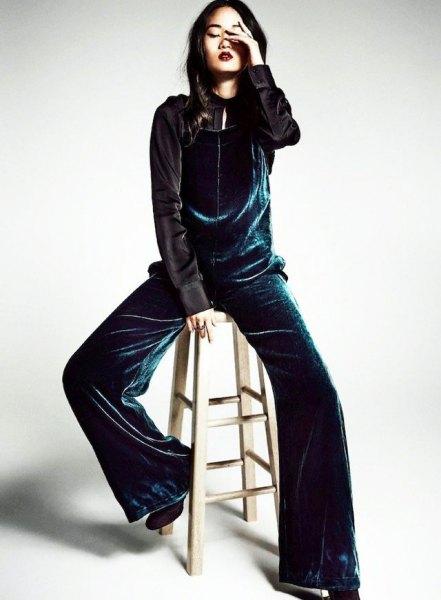 navy velvet wide leg jumpsuit with black silk shirt