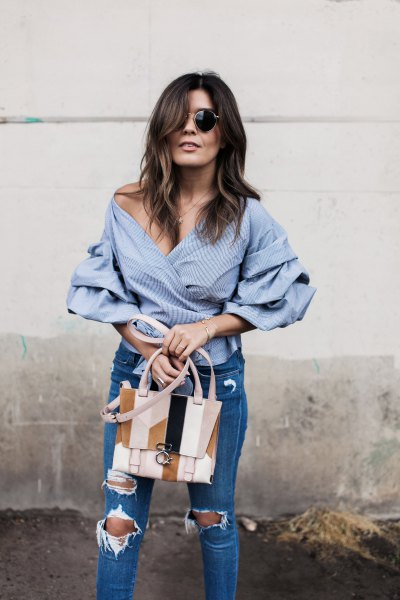 off the shoulder blue and white striped wrap shirt