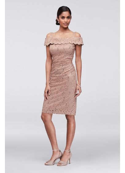 pale pink cold shoulder lace knee length cocktail dress
