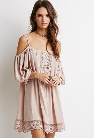 pale pink open shoulder lace hem mini dress